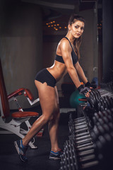 Wall Mural - Sexy athlete with a dumbbell in the gym