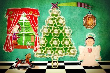 Funny Christmas Eve at home, postcard