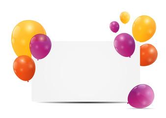 Color glossy balloons birthday card background vector illustrat