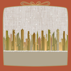 Merry Christmas, Cityscape made of paper in winter background