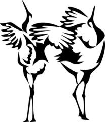stylized dancing cranes