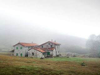 Wall Mural - mountain shelter with fog