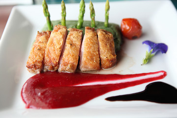 Roasted duck fillet with berry sauce