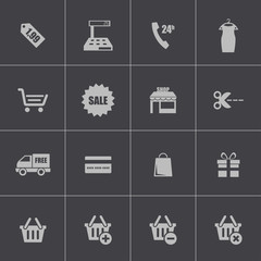 Vector black shopping icons set