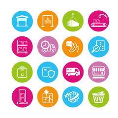 shipping icons set, consumer service buttons