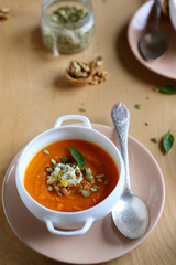 pumpkin soup with walnuts and cheese