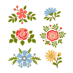 Vintage vector set of retro flowers