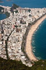 Aerial view of Ipanema and Leblon beach in Rio de Janeiro