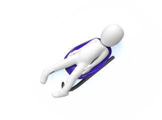 Luge. 3d man rides a toboggan