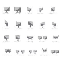 Screen Icons Set - Isolated On White Background
