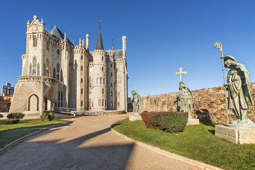 Views of Episcopal palace in Astorga, Leon, Spain. Wall mural