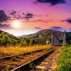 morning rail metal bridge in mountains