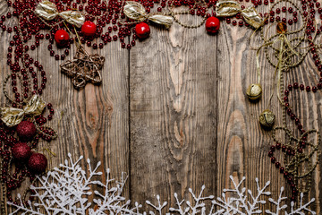 Christmas frame on wooden boards