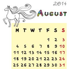 horse calendar 2014 august