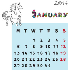 horse calendar 2014 january