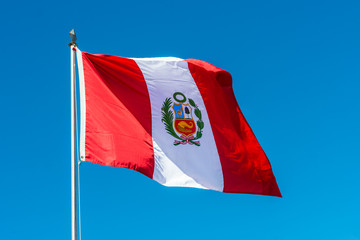 Poster South America Country Peruvian Flag in the peruvian Andes at Puno Peru