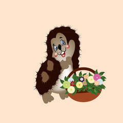 hedgehog with a basket of wild flowers