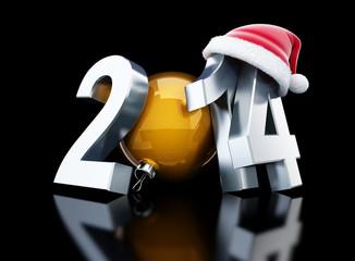 happy new year 2014 santa hat 3d Illustrations
