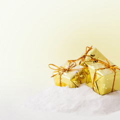 Christmas  gold gift boxes