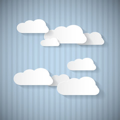 Paper Clouds on Blue Cardboard Sky