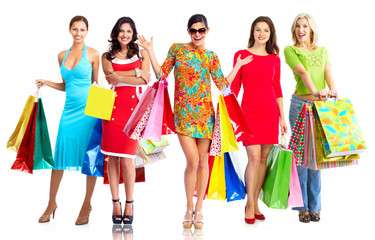 Women with shopping bags.
