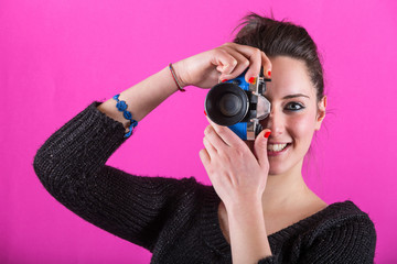 Young Woman With Toy Camera