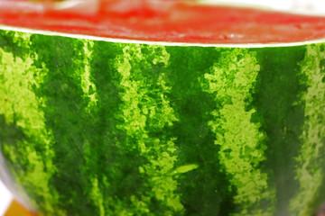 A fresh sugar red watermelon close up
