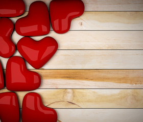 red heart on wood floor 3d rendering