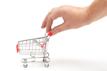 Hand pulling shopping cart