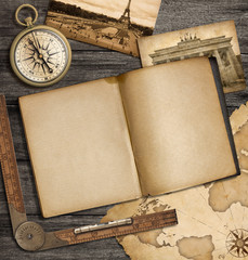 adventure nautical background with vintage map, copybook and com