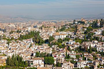 View of the Arab quarter at sunrise, Granada, Spain