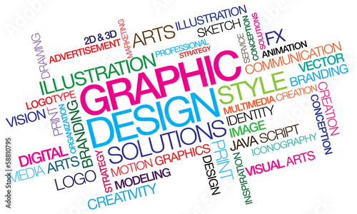 Graphic design colored word tag cloud template illustration\