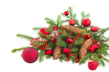 evergreen fir tree and red christmas ball