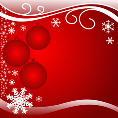 Bright red xmas Background with Balls.