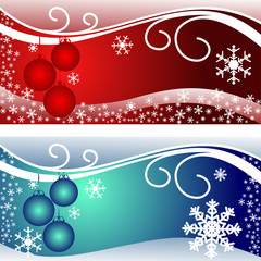Bright christmas Cards in red and blue.