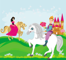 Garden Poster Pony prince and princess on their horses