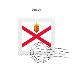 Jersey Flag Postage Stamp.