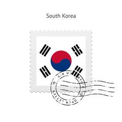 South Korea Flag Postage Stamp.