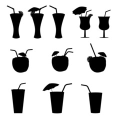 glasses of alcohol with a straw vector illustration
