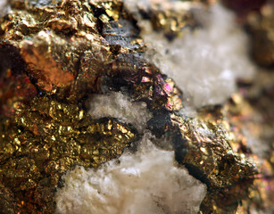 Golden metal background. Macro