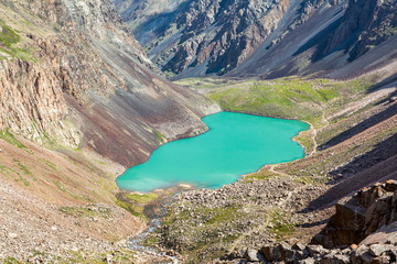 Fototapete - Majestic mountain lake in Tien Shan, Kirgizstan