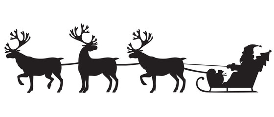 Santa Claus riding a sleigh with reindeers
