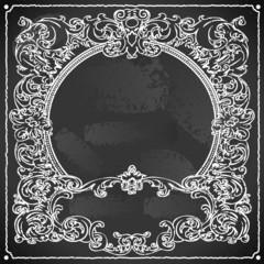 Vintage Floral Frame on Blackboard