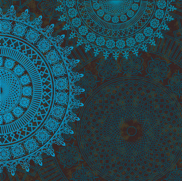 Vector decor blue lace on brown  background. Old circle lace