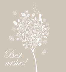 Greeting card with beautiful lacy tree