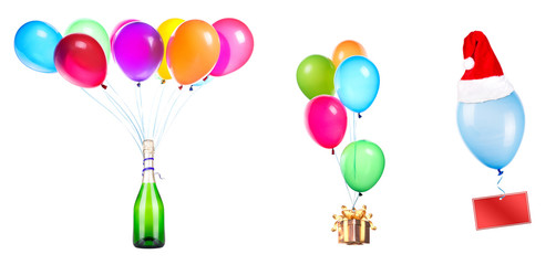 gift, champagne and blank card on color balloons
