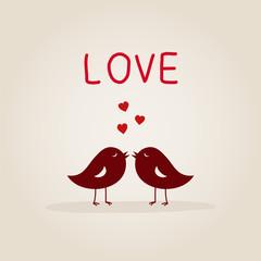 sweet love birds with heart