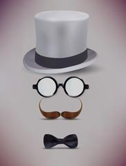 Fake Retro Gentleman, Glasses, Moustache Vector Illustration
