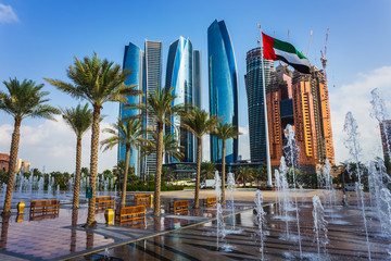Photo sur Aluminium Abou Dabi Skyscrapers in Abu Dhabi, UAE