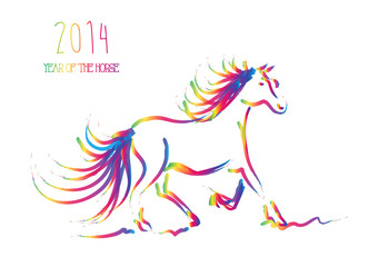 Multicolor Chinese New Year of horse 2014 isolated